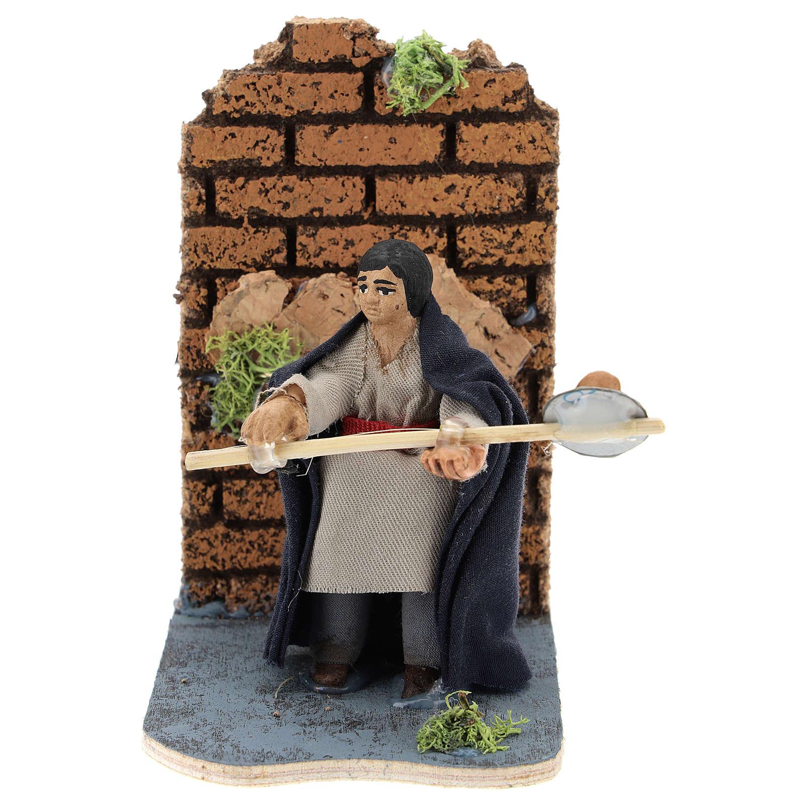 Moving baker for Neapolitan Nativity Scene 7 cm 4