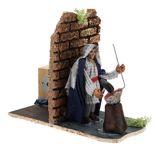 Moving blacksmith for Neapolitan Nativity Scene 7 cm 3