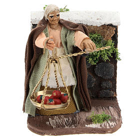Moving peasant with scale for Neapolitan Nativity Scene 7 cm s1