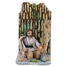 Moving fisherman fixing the net for Neapolitan Nativity Scene 7 cm s1
