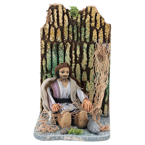 Moving fisherman fixing the net for Neapolitan Nativity Scene 7 cm 1