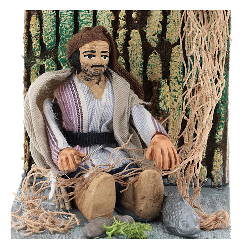 Moving fisherman fixing the net for Neapolitan Nativity Scene 7 cm 2
