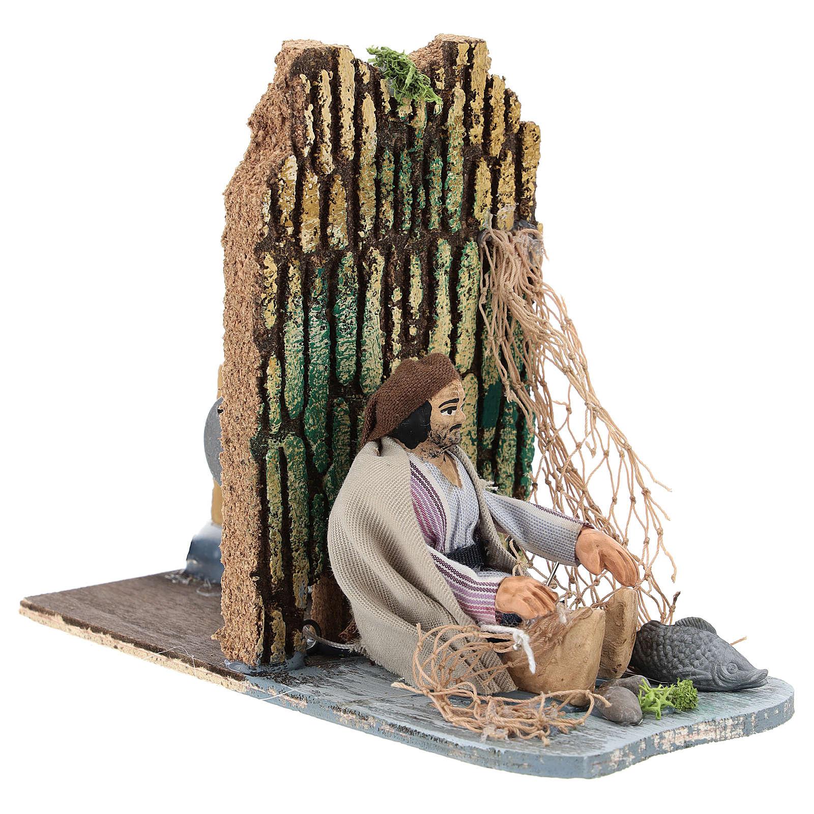Fisherman making net, animated 7 cm Neapolitan nativity 4
