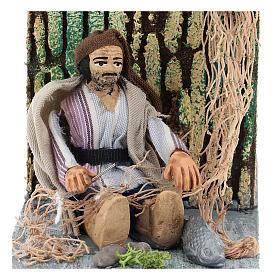 Fisherman making net, animated 7 cm Neapolitan nativity s2