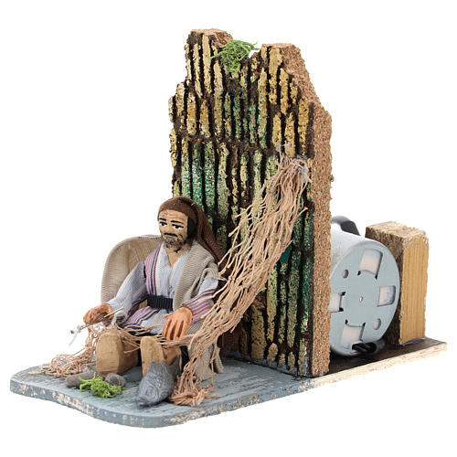 Fisherman making net, animated 7 cm Neapolitan nativity 3