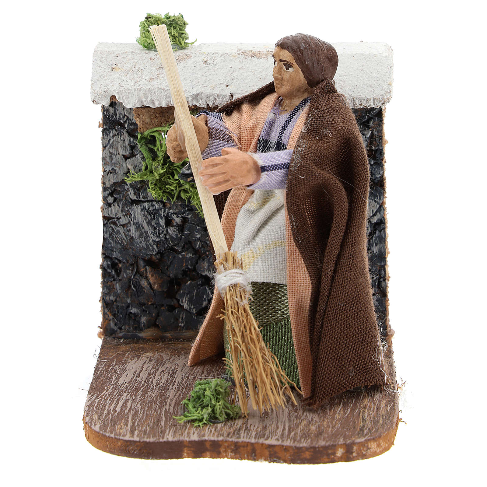 Moving woman with broom for Neapolitan Nativity Scene 7 cm 4