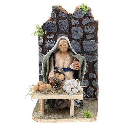 Moving egg seller for Neapolitan Nativity Scene 7 cm 1