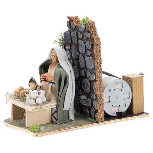 Moving egg seller for Neapolitan Nativity Scene 7 cm 3