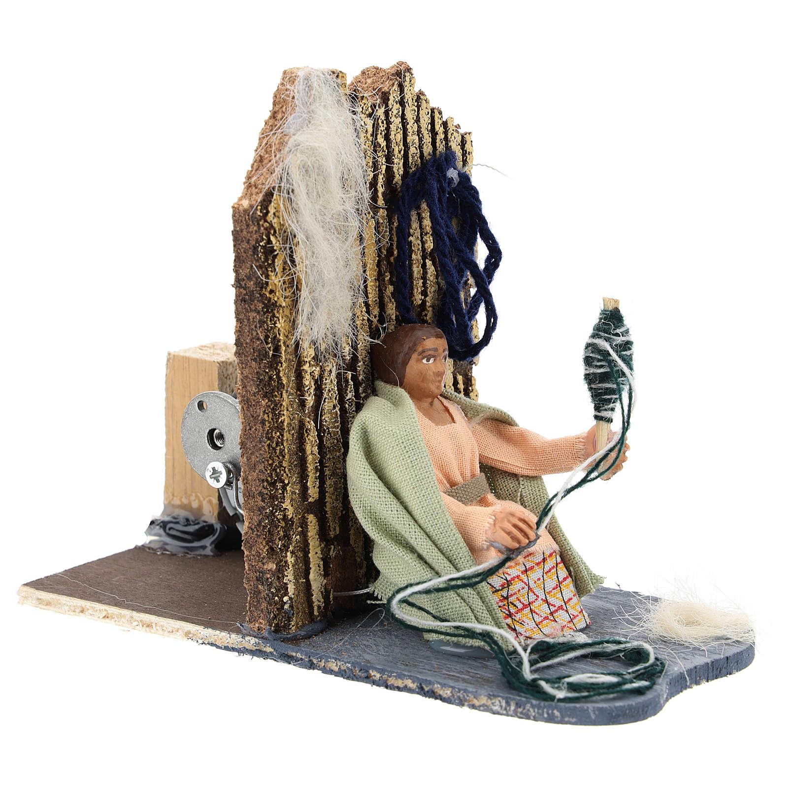 Donna che fila la lana presepe napoletano movimento 7 cm 4