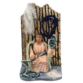 Presépio Napolitano: Mulher que fia a lã com movimento para presépio napolitano com figuras  de 7 cm de altura média