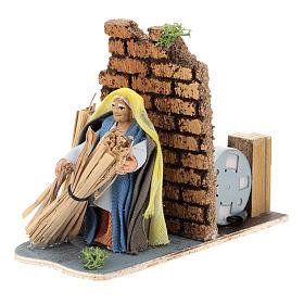 Moving farmer with hay for Neapolitan Nativity Scene 7 cm s3