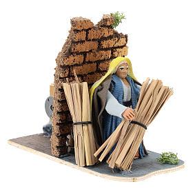 Moving farmer with hay for Neapolitan Nativity Scene 7 cm s4