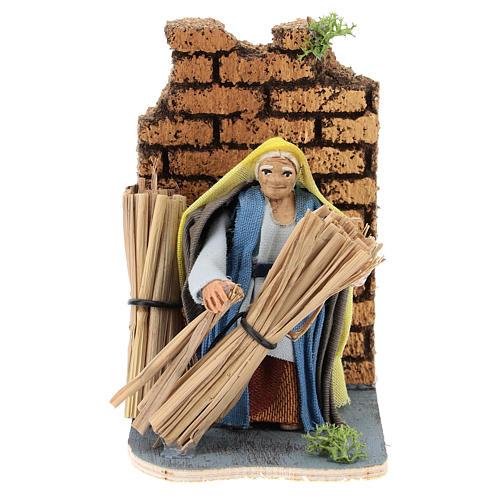 Moving farmer with hay for Neapolitan Nativity Scene 7 cm 1