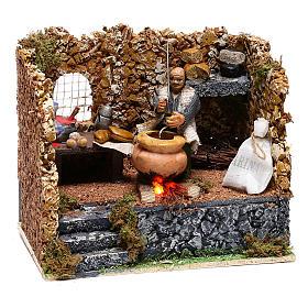 Chestnut seller in motion for Neapolitan Nativity scene of 8 cm s3