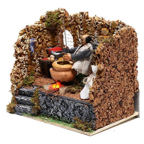 Chestnut seller in motion for Neapolitan Nativity scene of 8 cm 2