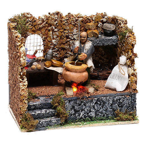 Chestnut seller in motion for Neapolitan Nativity scene of 8 cm 3