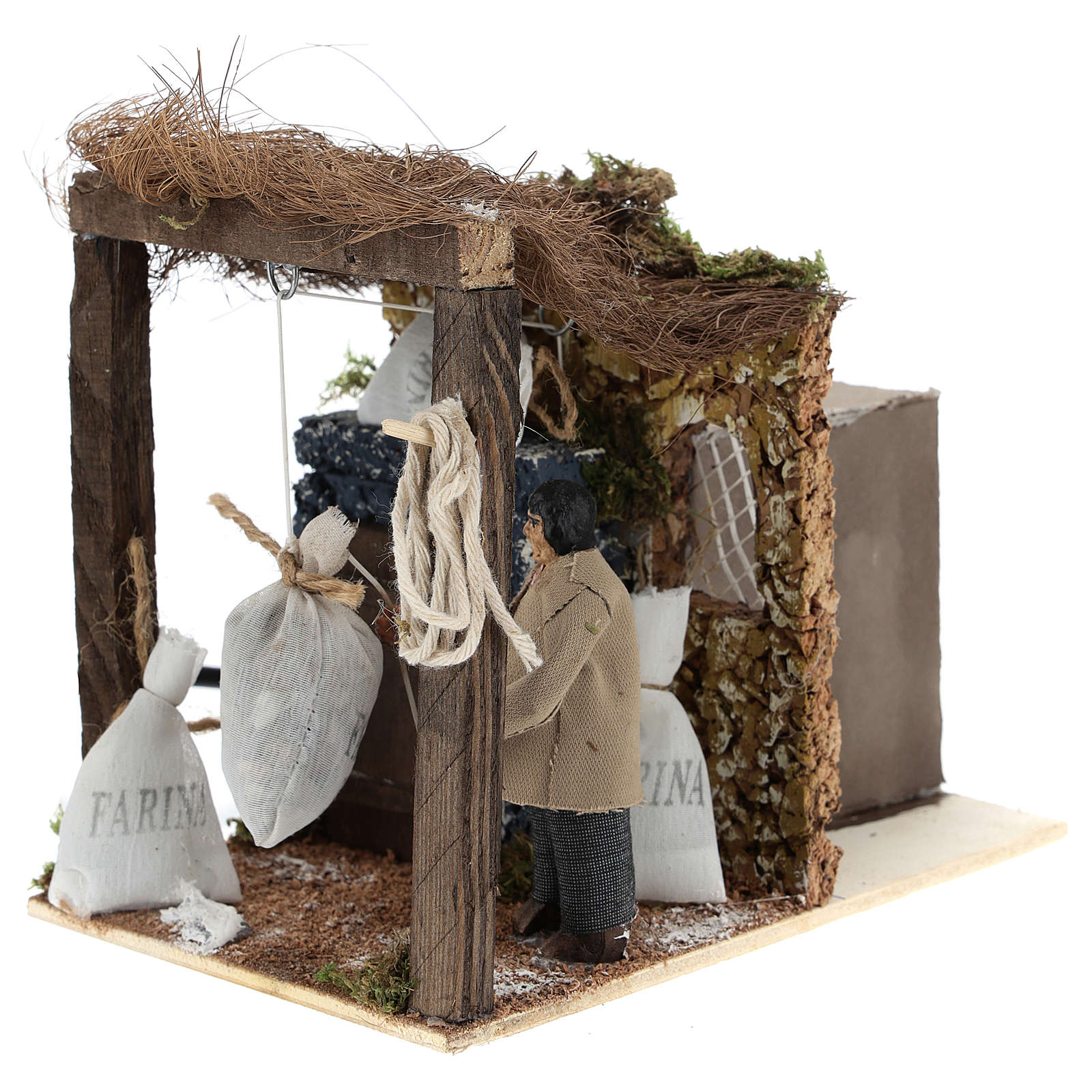 Shepherd with flour bags for Neapolitan Nativity Scene of 8 cm 4