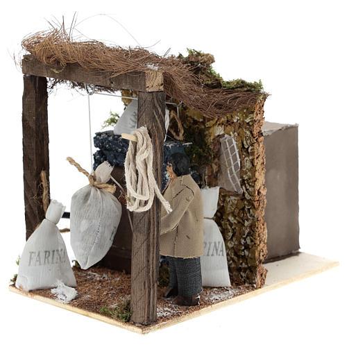 Shepherd with flour bags for Neapolitan Nativity Scene of 8 cm 2