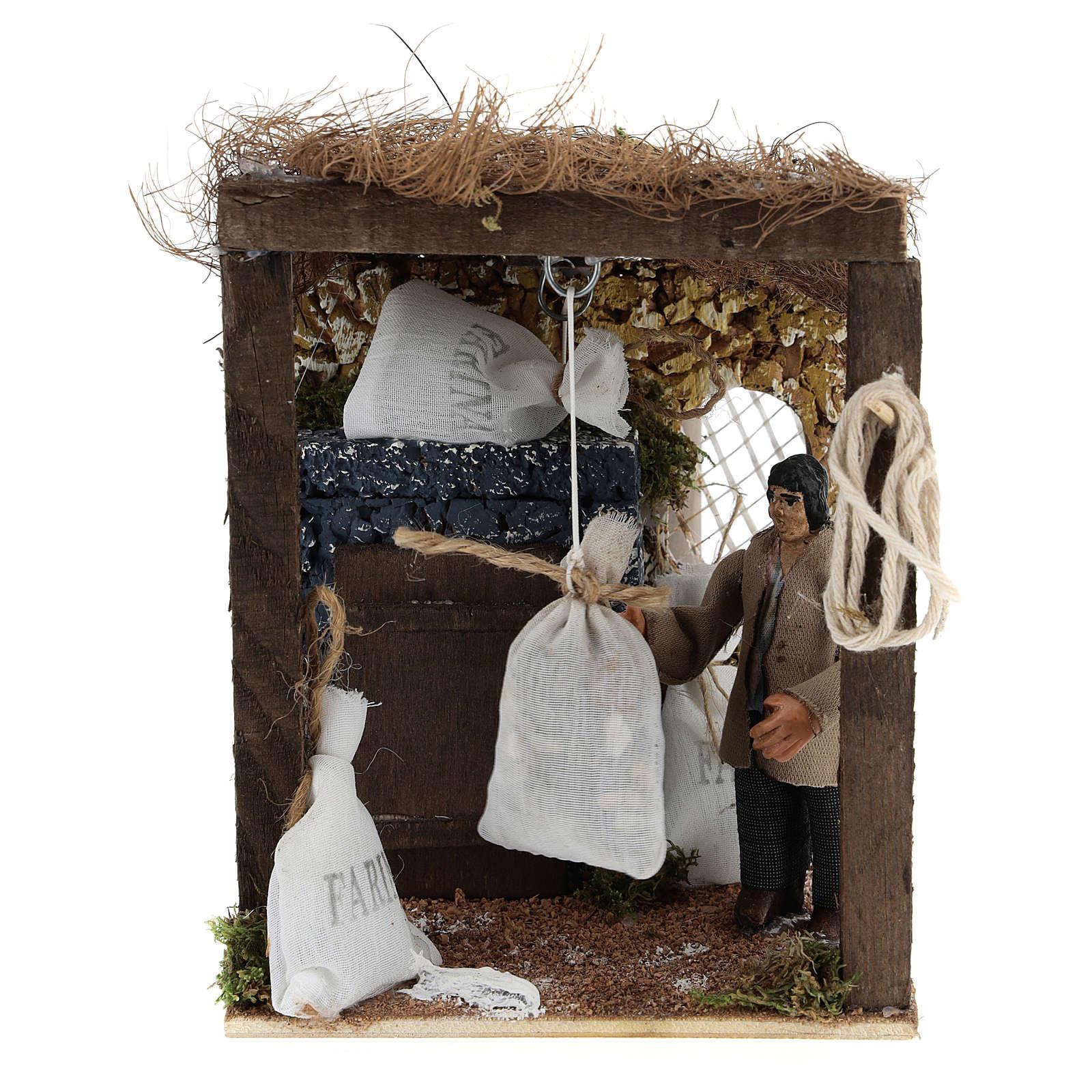 Pastor con sacos de harina movimiento belén napolitano 8 cm 4