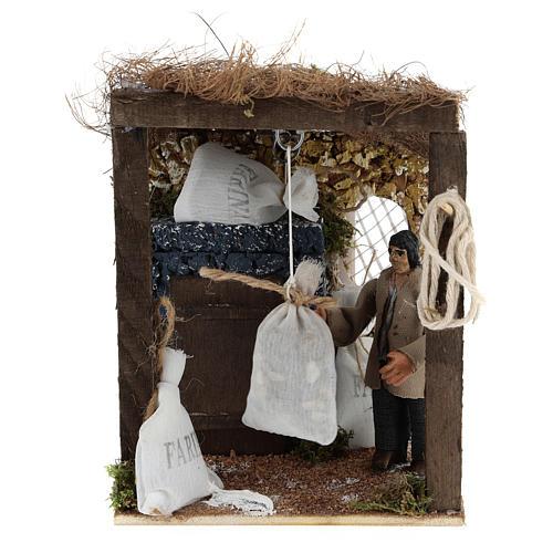 Pastor con sacos de harina movimiento belén napolitano 8 cm 1