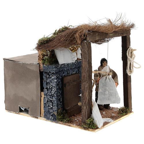 Pastor con sacos de harina movimiento belén napolitano 8 cm 3