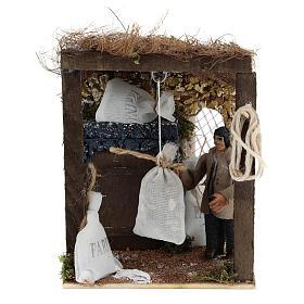 Presépio Napolitano: Pastor com sacos de farinha movimento para presépio napolitano com figuras de 8 cm de altura média