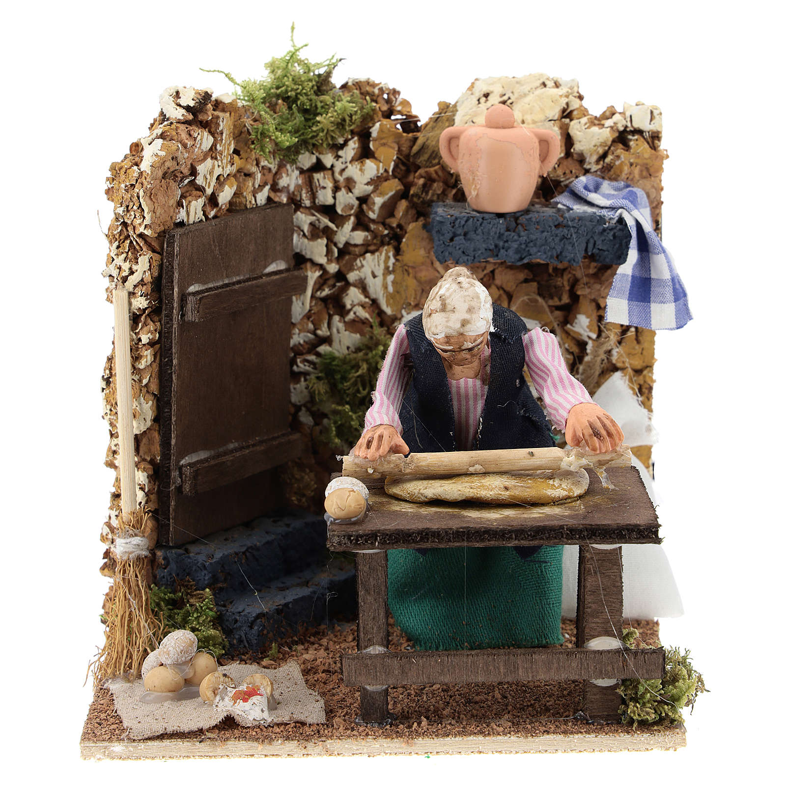 Housewife kneading for Neapolitan Nativity Scene of 8 cm 4