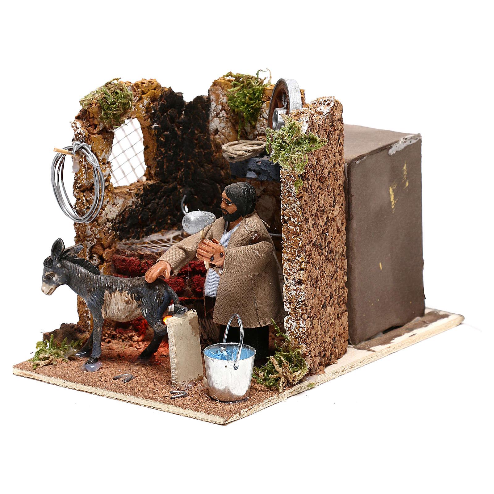 Herrador con burro movimiento belén Nápoles 8 cm efecto horno 4