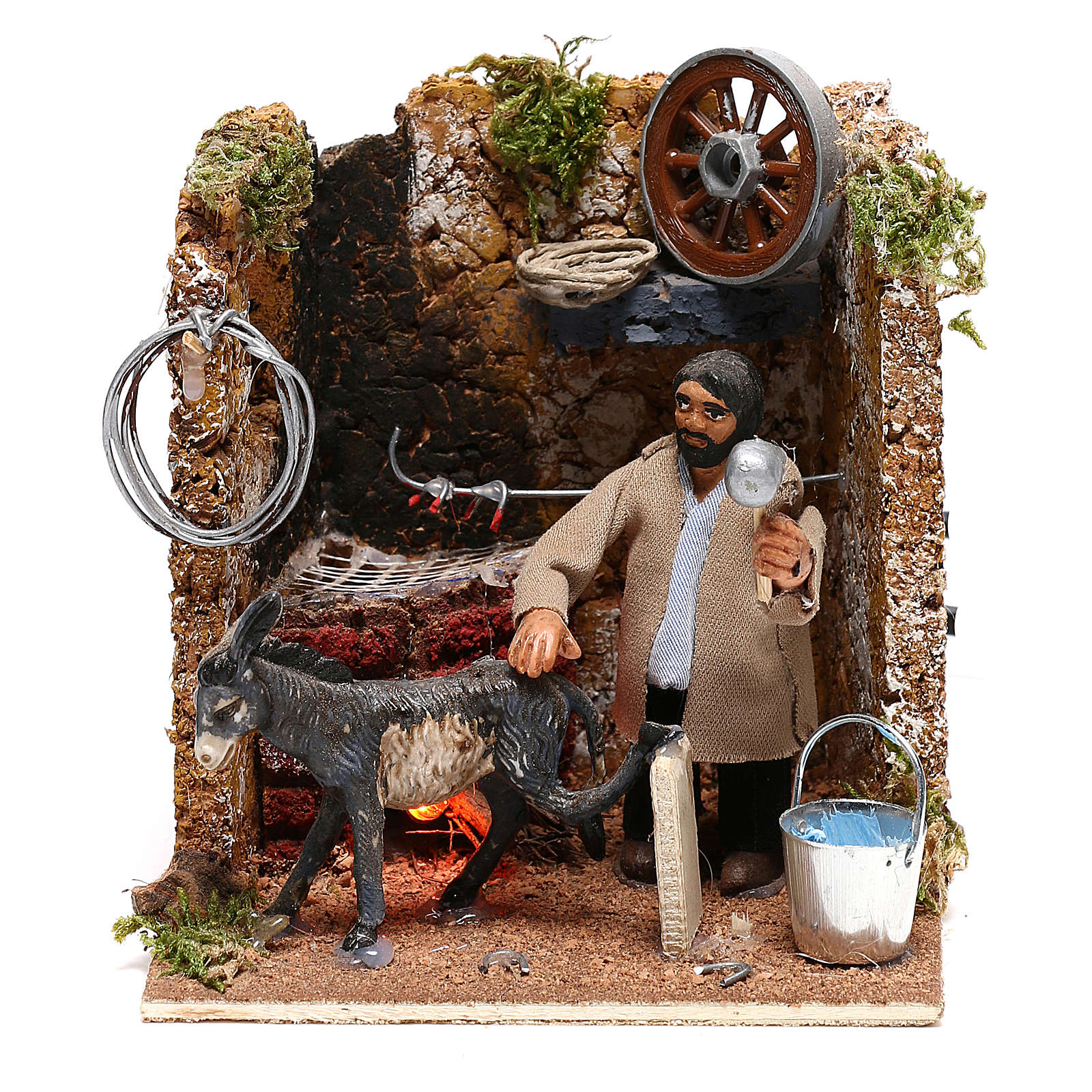 Farrier with donkey, animated figurine 8 cm Neapolitan nativity oven effect 4