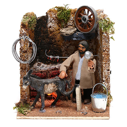 Farrier with donkey, animated figurine 8 cm Neapolitan nativity oven effect 1