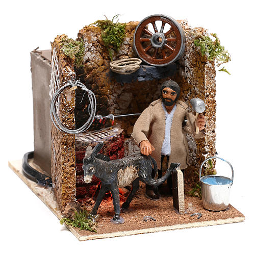 Farrier with donkey, animated figurine 8 cm Neapolitan nativity oven effect 3