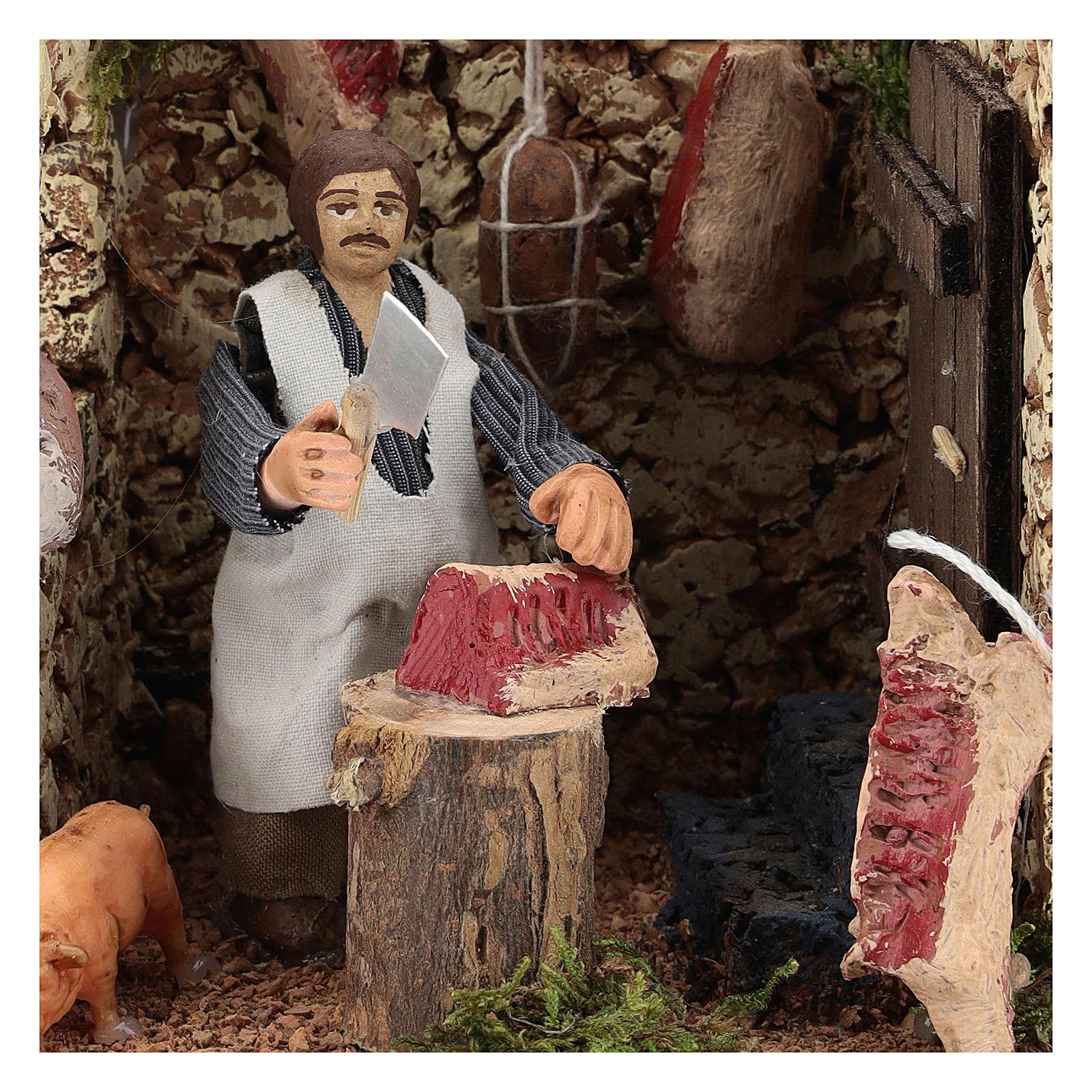 Moving figurine for Neapolitan Nativity scene, butcher 8 cm 4