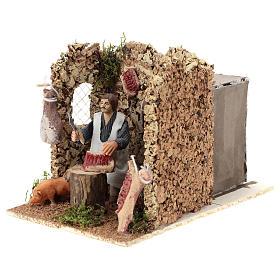 Moving figurine for Neapolitan Nativity scene, butcher 8 cm s3