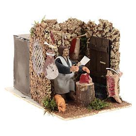 Moving figurine for Neapolitan Nativity scene, butcher 8 cm s4