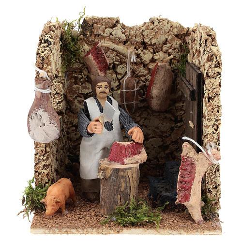 Moving figurine for Neapolitan Nativity scene, butcher 8 cm 1