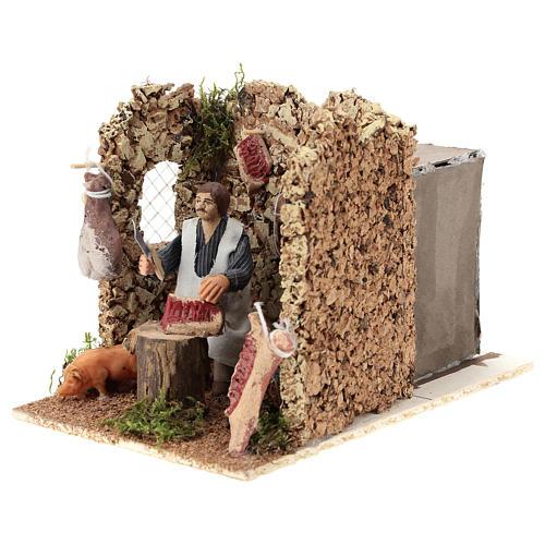 Moving figurine for Neapolitan Nativity scene, butcher 8 cm 3