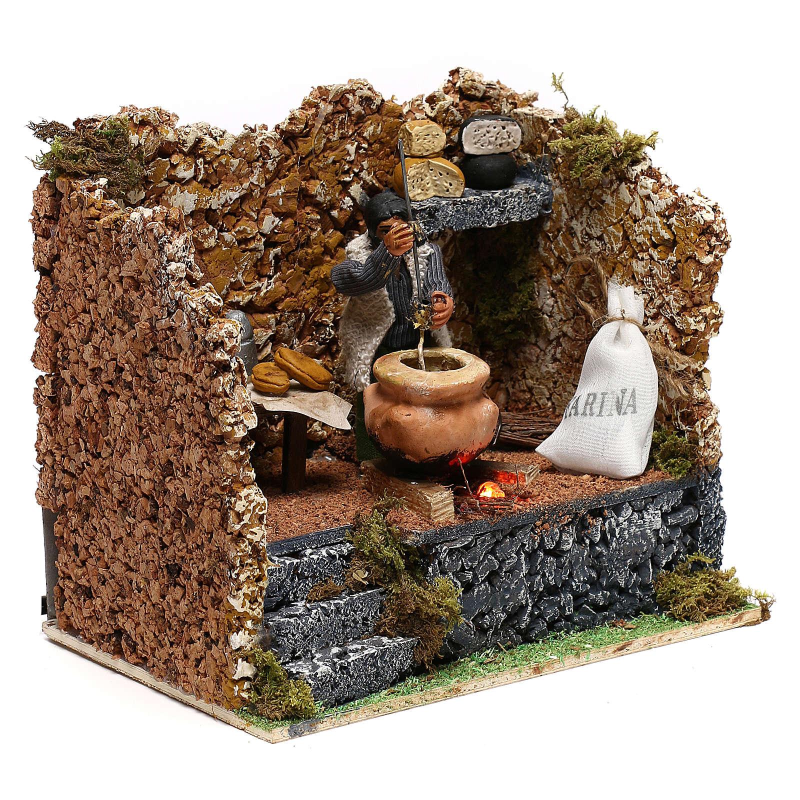 Moving polenta maker for Neapolitan Nativity scene of 8 cm 4