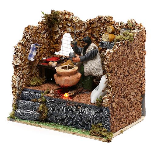 Moving polenta maker for Neapolitan Nativity scene of 8 cm 2