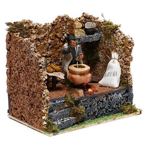 Moving polenta maker for Neapolitan Nativity scene of 8 cm 3