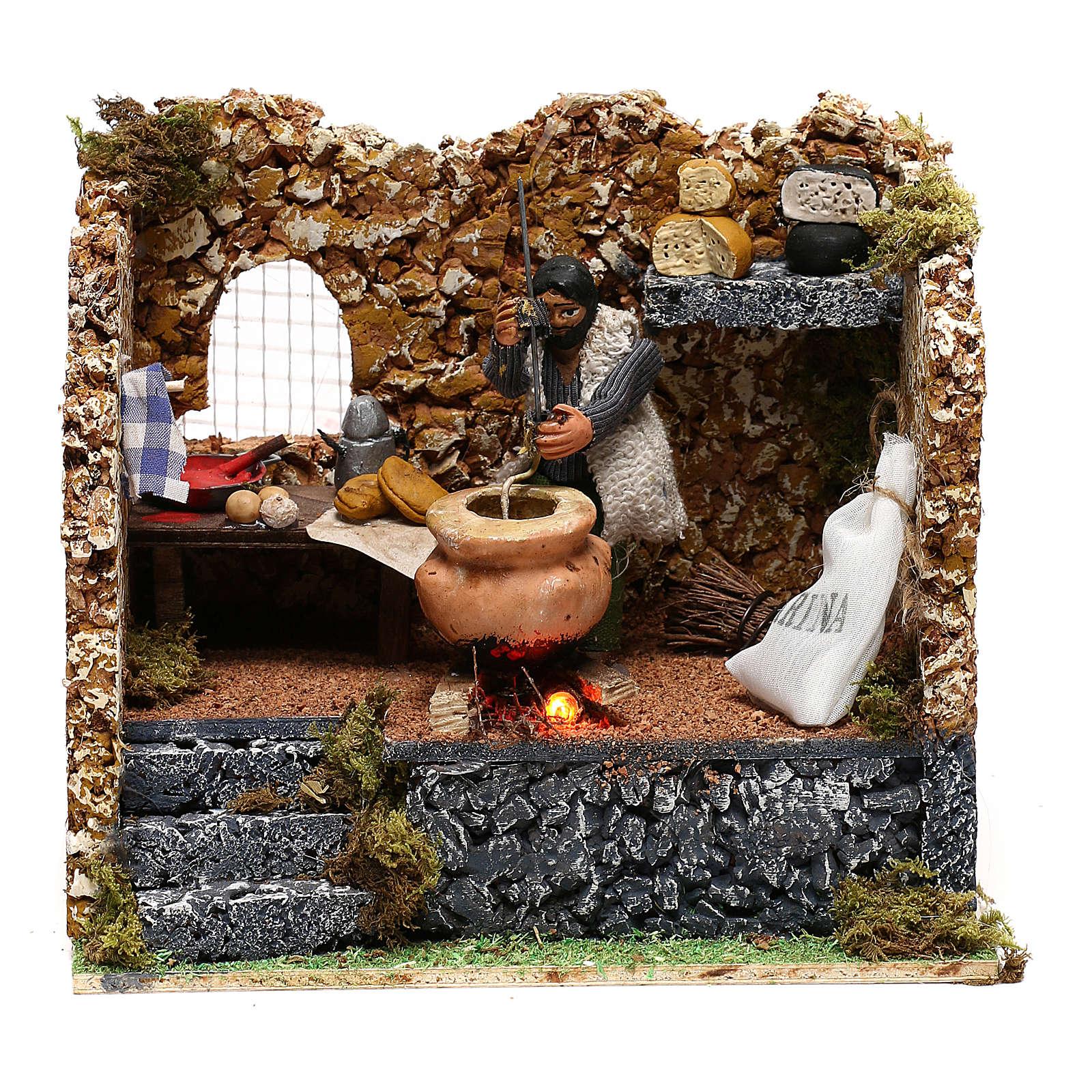 Hombre que cocina polenta movimiento belén napolitano de 8 cm 4