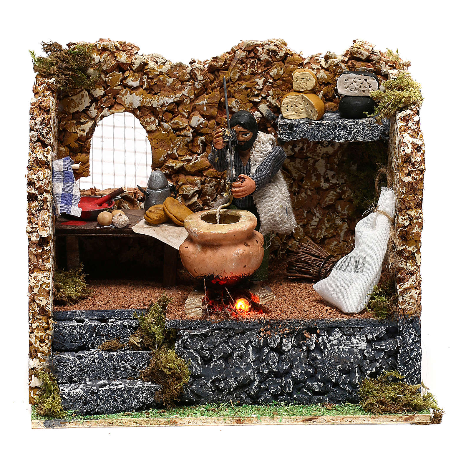 Man making polenta, 8 cm animated Neapolitan nativity 4