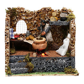 Man making polenta, 8 cm animated Neapolitan nativity s1