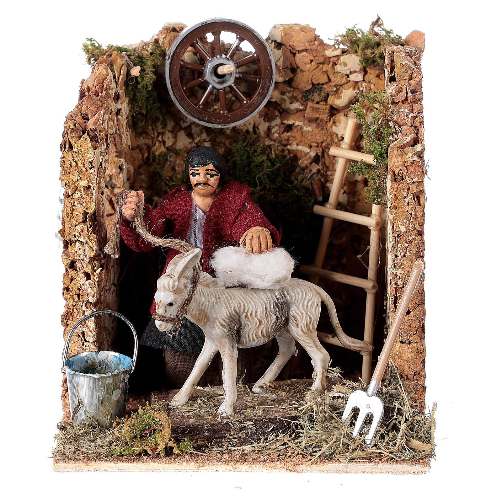 Moving figurine for Neapolitan Nativity scene, man currying donkey 8 cm 4