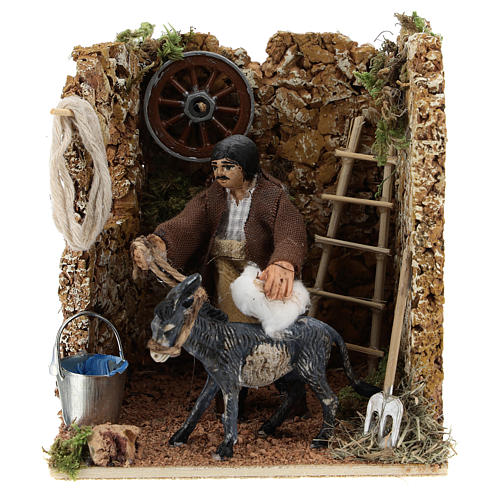 Moving figurine for Neapolitan Nativity scene, man currying donkey 8 cm 1