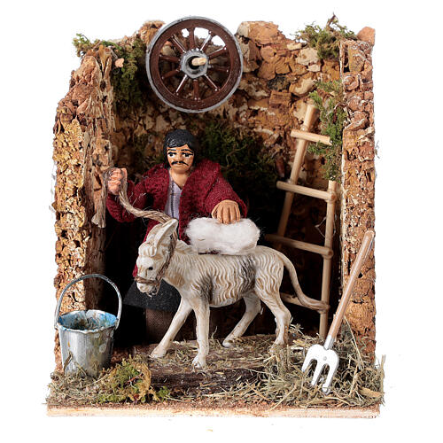 Moving figurine for Neapolitan Nativity scene, man currying donkey 8 cm 1