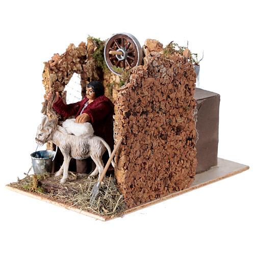 Moving figurine for Neapolitan Nativity scene, man currying donkey 8 cm 2