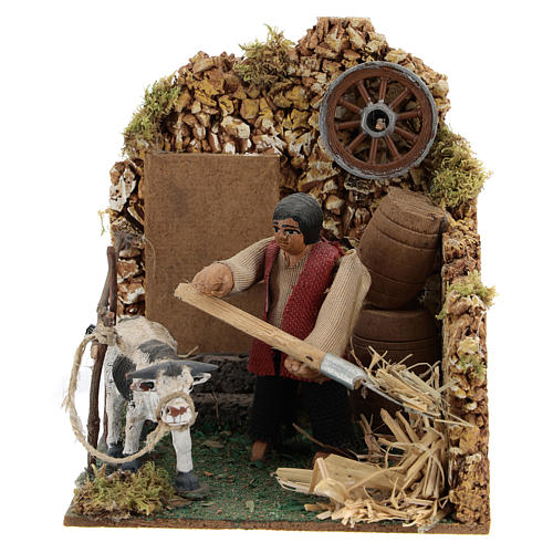 Moving figurine for Neapolitan Nativity scene, farmer in stable 8 cm 1
