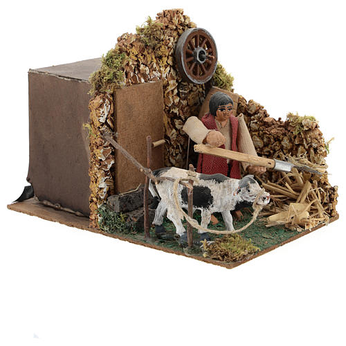 Moving figurine for Neapolitan Nativity scene, farmer in stable 8 cm 3