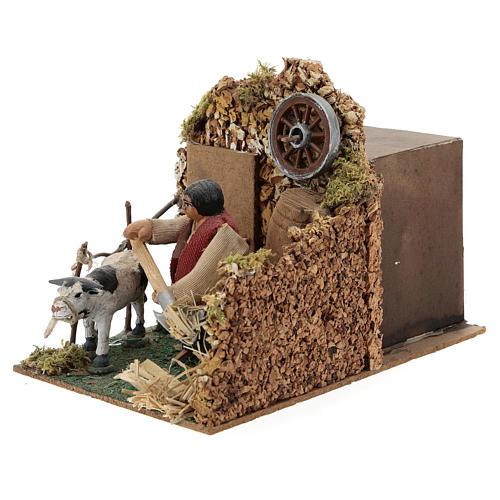 Farmer in stable, animated 8 cm Neapolitan nativity 2