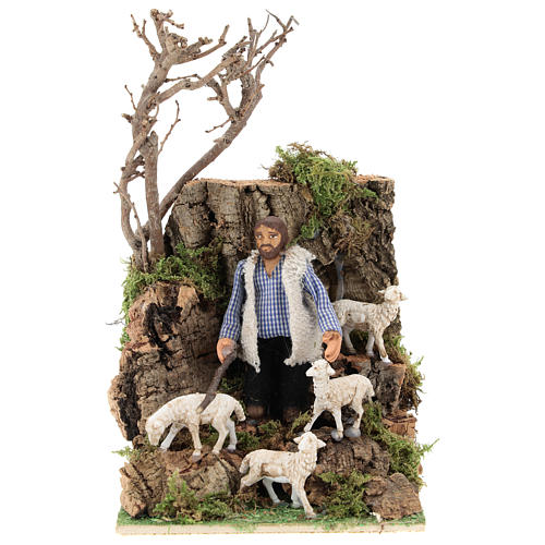 Moving figurine for Neapolitan Nativity scene, shepherd with sheep 8 cm 1